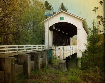 White Covered Bridge, Oregon Photography, old building photo, blue, yellow vintage inspired home decor print, wall art - 8x10