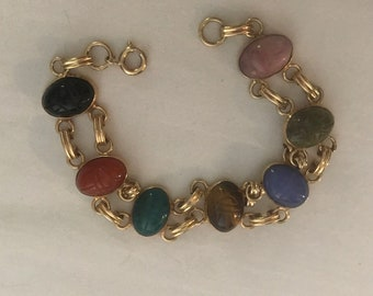Vintage Mult Gemstone Gold Filled Scarab Bracelet