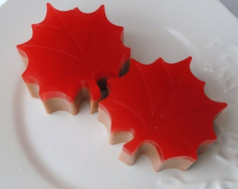 Shaped Soap - Red Maple Leaf - Glycerin and Goat Milk Soap - Candied Apple Scented - for her - Mom - Fall - Hostess gift - Wedding favor