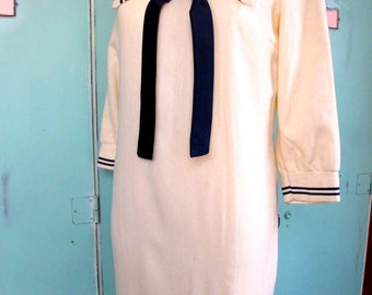 Beautiful Vintage Wool Sailor Pin up Style Dress with Navy Blue Accents 1940's