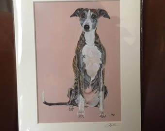 WHIPPET giclee signed print of my original oil painting