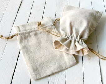 12 - Natural Linen Drawstring Bags 5 x 7 - drawstring bags, jewelry drawstring bags, advent calendar bags,natural linen bags