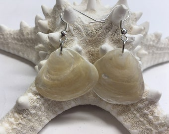 White as Snow handmade jingle shell earrings