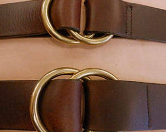 Double Ring Leather Cinch Belt