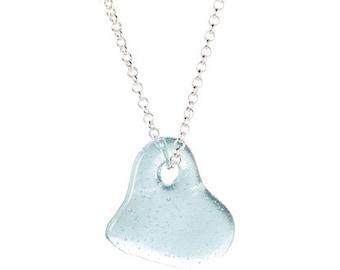 Vintage 1923-1933 Blue Mason Ball Jar heart pendant necklace  silver chain