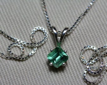 Emerald Necklace, Colombian Emerald Pendant 0.42 Carat Appraised 375.00, Sterling Silver, Real Natural Princess Cut Jewelry, May Birthstone