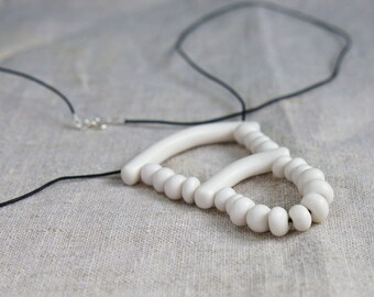 Handmade porcelain beaded necklace, Ceramic jewelry, Gift for her