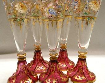 Five Wine Glassed Lobmeyr type