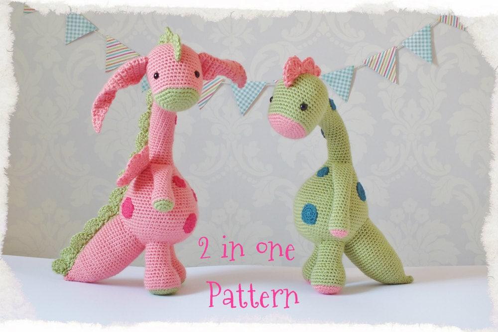 Dragón y dinosaurio Amigurumi patrón único PDF descarga inmediata ...