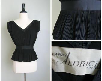 1950's Inky Black Pleated Top// Sleeveless// Larry Aldrich// Small