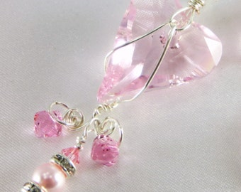 Wire Wrapped Pink Rose Swarovski Wild Heart on all sterling silver Bridal or Bridesmaid Necklace