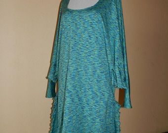 Robe grande taille en lycra à fines rayures turquoise