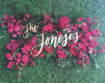 """Large Custom Last Name Wedding Set - Wedding Sign - Backdrop Sign - Hedge Sign - Laser Cut Wood - 35"""" Wide - Shipped anywhere in USA"""