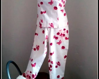 TOGETHER BUTTERFLY - pants and pip(top) with buttons SUMMER years B.B. - white and fuchsia cut 42 and 44