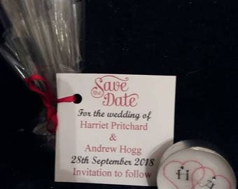 Save the Date tealight card and favour