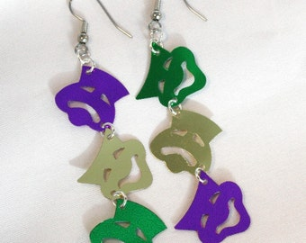 Mardi Gras Earrings Comedy Tragedy Faces Masks Green Purple Gold Confetti Dangles Plastic Sequins