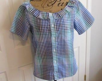 Boyfriend shirt recycle, slow fashion, Eco friendly, altered shirt, repurposed clothing,  short sleeves, ruffled neckline