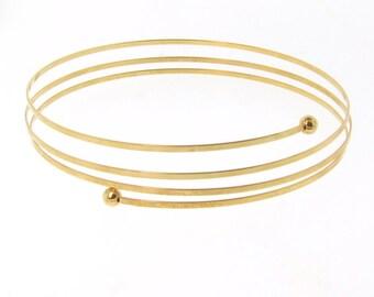 14K Gold Adjustable Bangle Bracelet, Cuff Bracelet, Wrap Around Bracelet