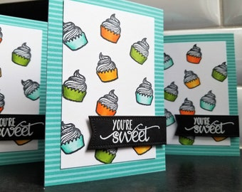 Cupcake Birthday Card, You're Sweet Thank You Card, I Love You Card, Anniversary Gift for Baker, Foodie Greeting Card