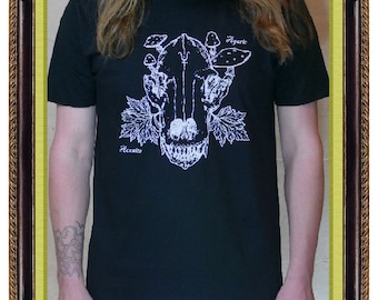 Wolfsbain short sleeve black T-shirt Raven Mystic occult witchcraft spell magick skull pagan wicca witch dark
