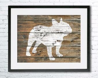 French Bulldog 6 art illustration print, dog art, French Bulldog painting ,dog illustration, Wall art, Rustic Wood art, Animal silhouette,