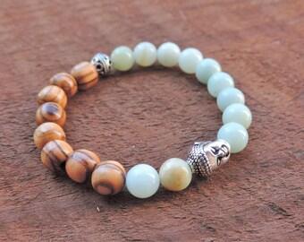 Amazonite Bracelet, Olive Wood Bracelet, Chakra Bracelet, Healing Meditation Bracelet, Yoga Bracelet, Wrist Mala, Buddhist Bracelet