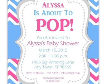 Baby Shower Invitation, Blue and Pink Chevron About to Pop Invitation, CUSTOM 4x6 or 5x7 size - YOU PRINT - blue pink chevron baby invit