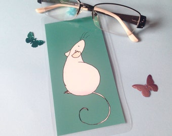 Handmade bookmark, fancy rat watercolour illustration, teal, laminated, blue ribbon, gift for book lovers readers