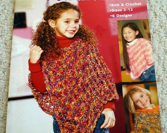 Ponchos for Kids Book of Hand Knits and Crochet - Leisure Arts Sizes 2 to 12