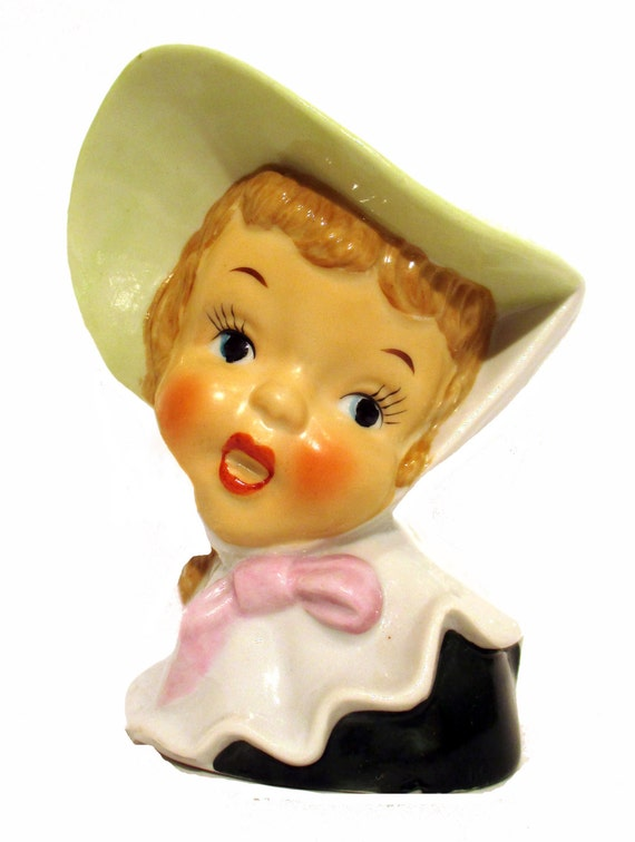 Vintage Girl Head Vase.  Hand Painted w/Original Foil Label CDGC.  Made in Japan.  Stamped #505B. Product No. 254047