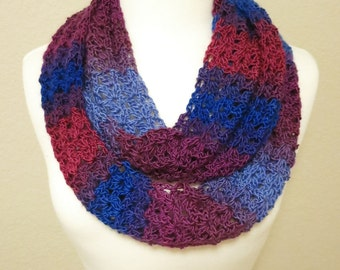 Crochet Infinity Scarf in Blue and Purple
