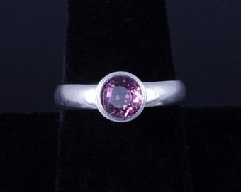 Lab Created Amethyst 6mm Round Bezel Sterling Silver Ring