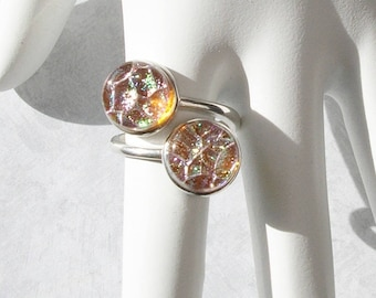 Golden Bronze Dichroic Glass Ring Sterling Silver Bypass Ring Dichroic Jewelry Fused Glass Jewelry Contemporary Jewelry