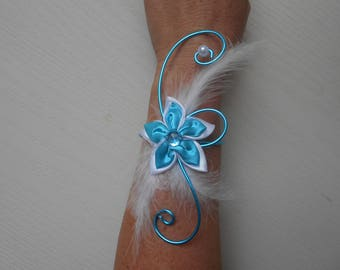 Flowers for bride or witness - white and turquoise bracelet