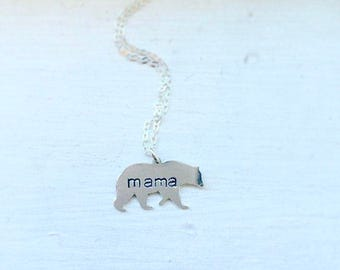 Mama bear necklace, bear necklace, personalized jewelry, metal stamped necklace, gift for mom, Mother's Day, Valentine's Day