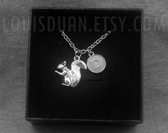 Squirrel Necklace -Animal Necklace -Initial Charm Necklace -Your Choice of A to Z