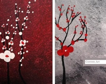 Art Original Acrylic Canvas Fantasy Flowers Painting Gray Red Two Piece Made To Order