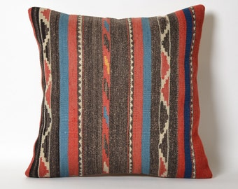 Striped Kilim Pillow Covers - 16x16 Inches Throw Pillow Cover Decorative Pillow Home Decor Cushion Covers Striped Kilim Pillows