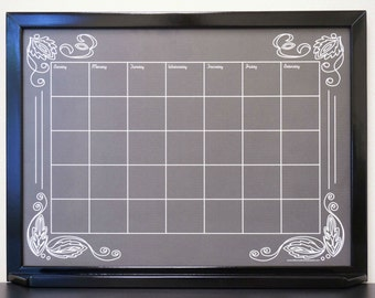 "Custom Black ""Artisan Chalkboard"" Whiteboard Calendar Dry Erase Board - Framed Chalkboard Calendar - Dry Erase Wall Calendar Command Center"