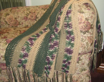 Hand Made Crocheted Blanket/Afghan/Throw in Dark Green - Beige - Ombre - Taupe