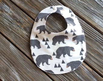 Bib ~ Geometric//Tribal//Triangle//Bear//Nature//Cream//Natural