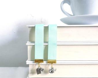 Tea Party Bookmark || Green bookmark || Ribbon bookmark
