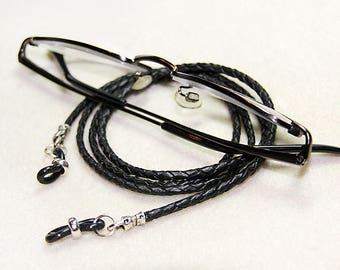 Eyeglass Leash, Braided Leather, Dark Brown, Natural, Cognac, Black, Red, Mens, Unisex, Handmade, Eyeglass Chain, Gift for Him, Gift for Man