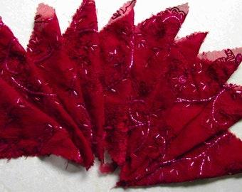 BURGUNDY....9 x Embroidered Bugle Beaded Crinkle Chiffon....100% Silk....12 x 13 cm each