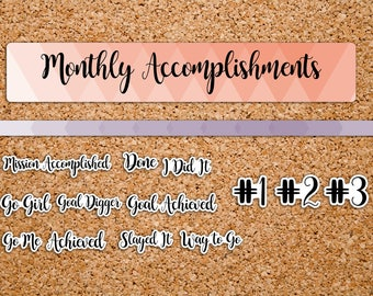 35 Monthly Accomplishment, Mission Completed, Monthly Notes Page Planner Stickers for 2017 inkWELL Press Planner IWP-HS66