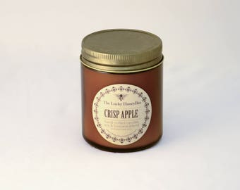 Crisp Apple || 8.5 oz Scented Candle || Soy + Beeswax Blend Candle in Amber Jar