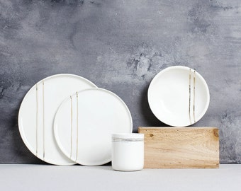White and Gold Stripe Tableware - Full Setting