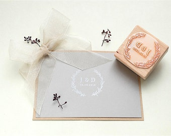 Wedding stamp, Floral Wreath Stamp, Custom Wedding Stamp, Wedding Favor Stamp, Initial Stamp, Monogram Stamp, Custom Wedding Invitation