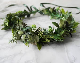 Woodland Wedding Flower Crown - Green crown, Flower Crown with leaves, berries, twigs and artificial foliage, ideal for a rustic wedding