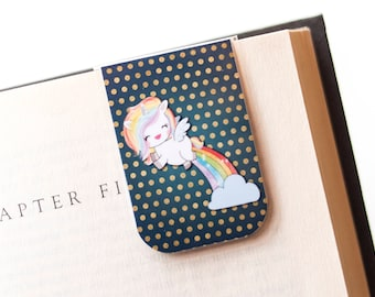 Rainbow Bookmark, Pooping Unicorn, Magnetic Bookmark, Happiness Gift, Polka Dot Gift, Gifts For Teenagers, Gift For Her, Gifts Under 5